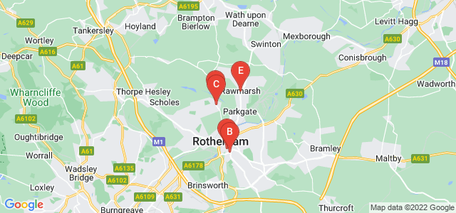 Google static map for Rotherham