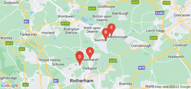 Google static map for South Yorkshire