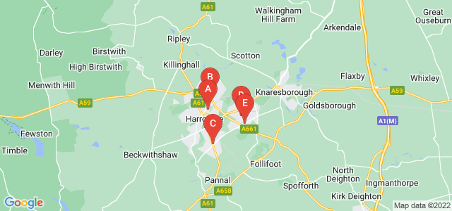 Google static map for North Yorkshire
