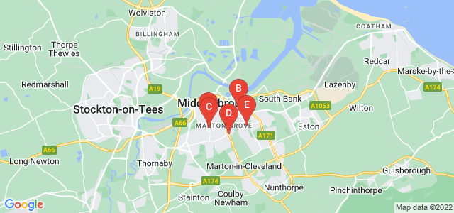 Google static map for Middlesbrough