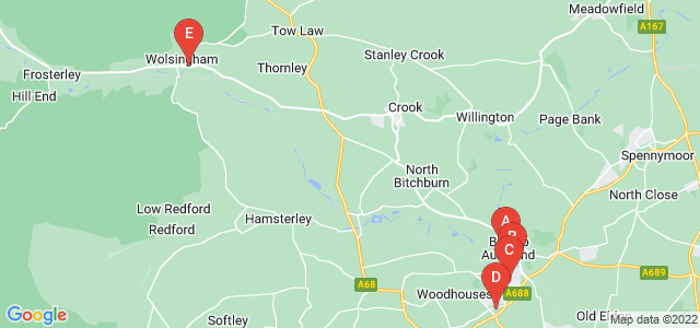 Google static map for Bishop Auckland