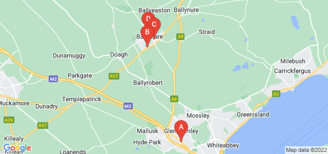 Google static map for Newtonabbey