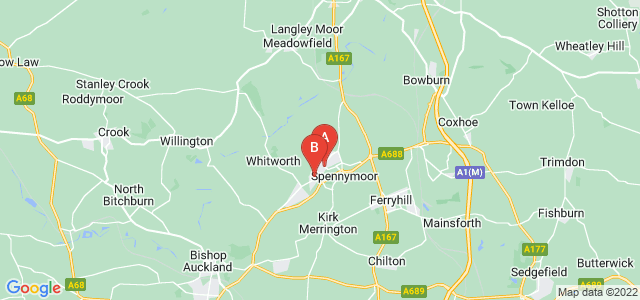 Google static map for Spennymoor