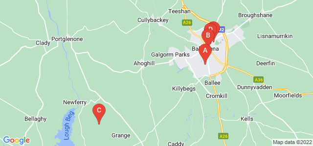 Google static map for Ballymena