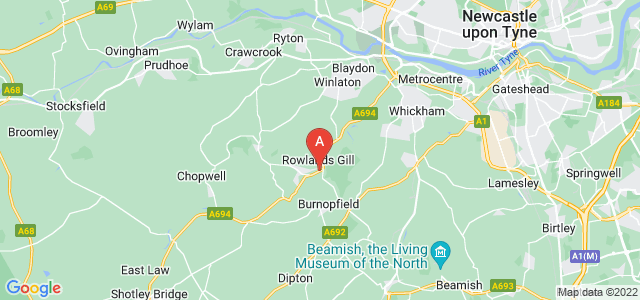 Google static map for Rowlands Gill