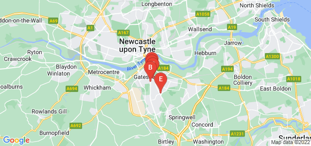 Google static map for Gateshead