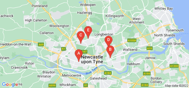 Google static map for Newcastle Upon Tyne