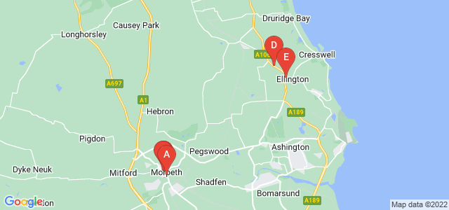 Google static map for Morpeth