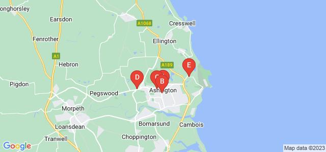 Google static map for Ashington