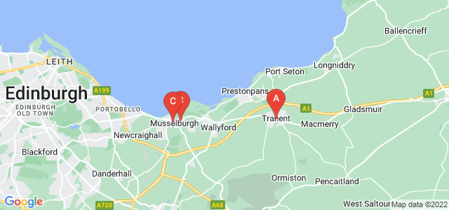 Google static map for East Lothian