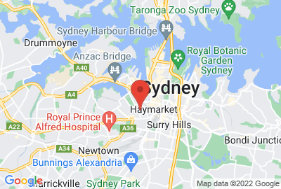 Map showing location of Sydney office