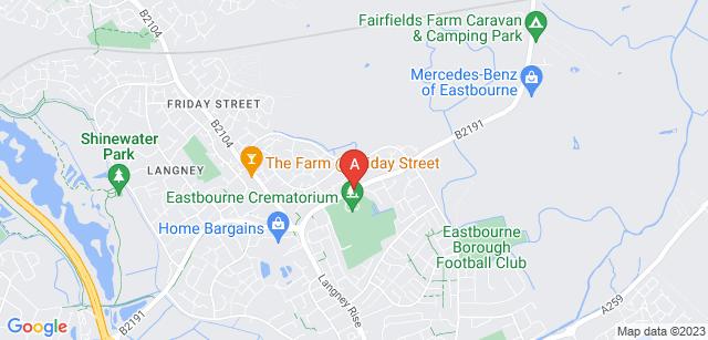 Google static map for Eastbourne Crematorium