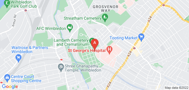 Google static map for Lambeth Crematorium and Cemetery