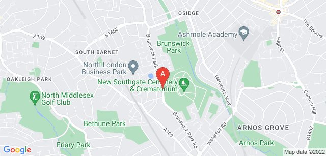 Google static map for New Southgate Cemetery and Crematorium