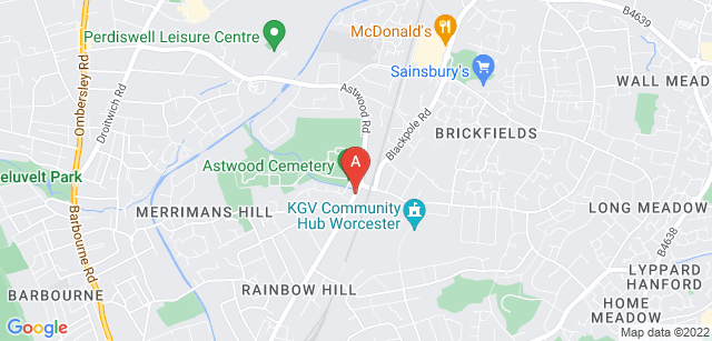 Google static map for Astwood Cemetery and Crematorium