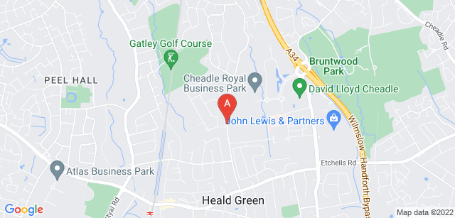 Google static map for St Ann's Hospice - Heald Green