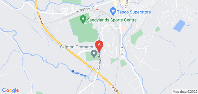 Google static map for Skipton Crematorium