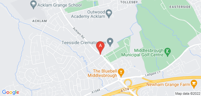 Google static map for Teesside Crematorium