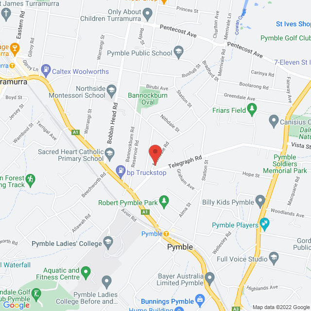 Map to St Swithun's Anglican Church Pymble in Sydney, NSW