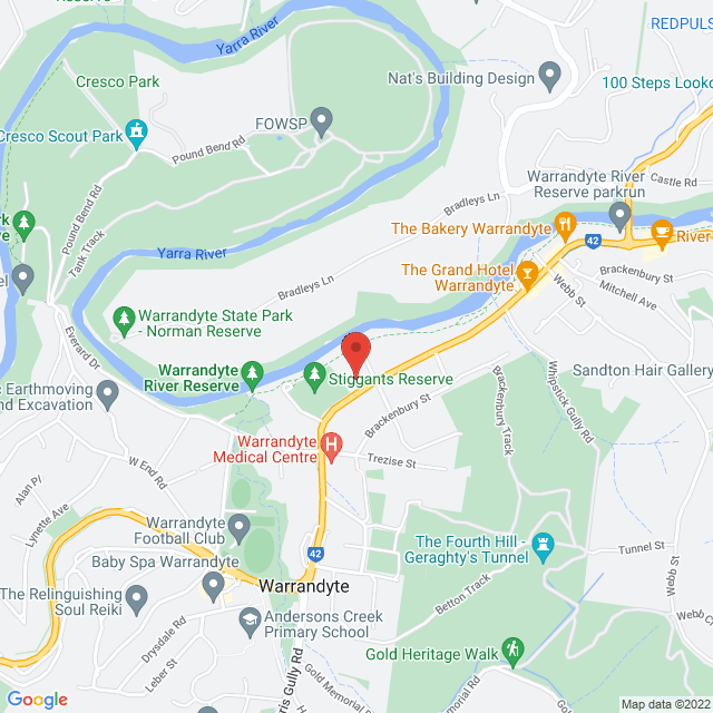 Map to Warrandyte Community Church in Warrandyte, VIC