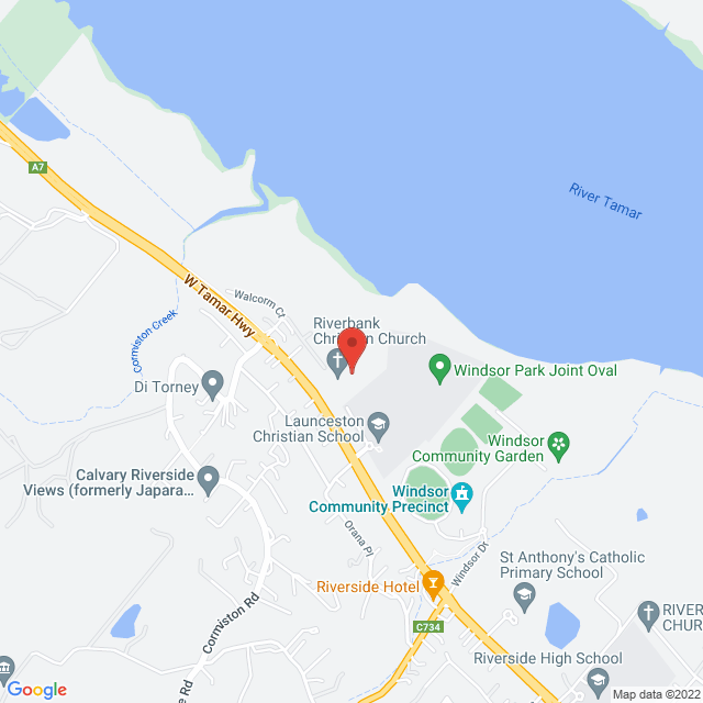 Map to Riverbank Christian Church in Riverside, TAS