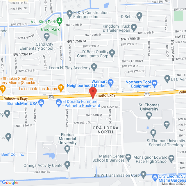 Map to Living Word Ministries Christian Center in Miami-Gardens, Florida