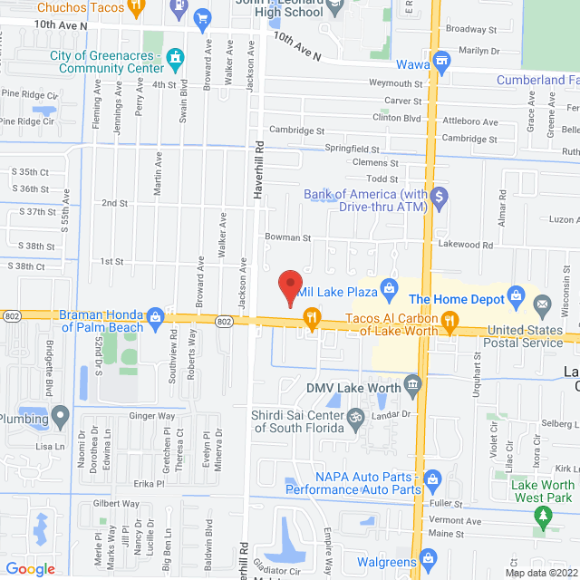 Map to New Life Pentecostal Church in Greenacres, FL
