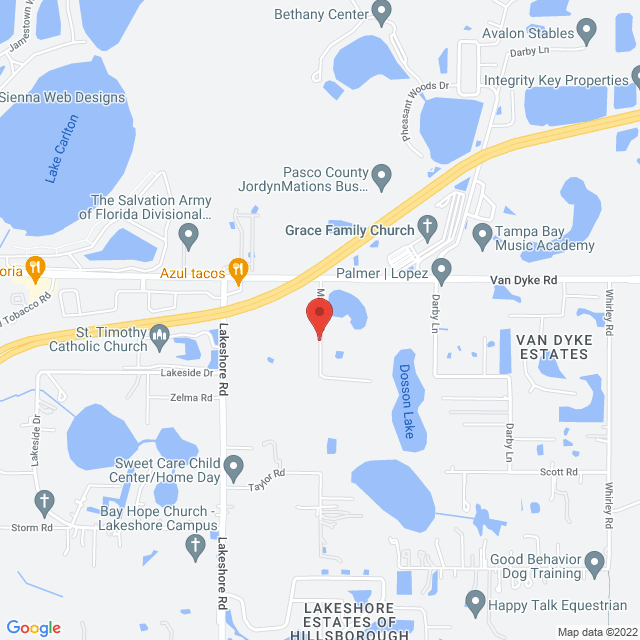 Map to Cornerstone Presbyterian Church, PCA in Lutz, FL