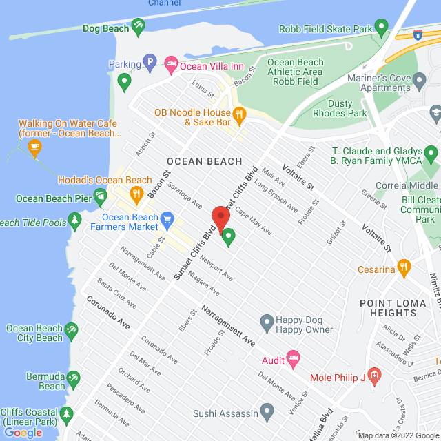 Map to Regeneration Church in San Diego, California
