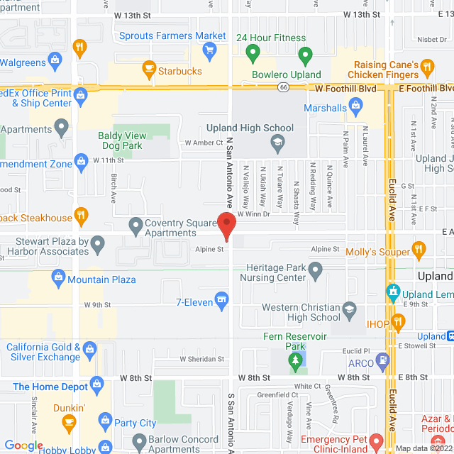 Map to Pacific Community Center in Upland, California