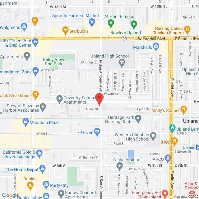 Map to Pacific Community Center in Upland, Ca