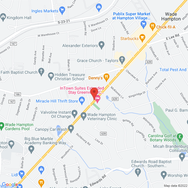 Map to Hampton Heights Baptist Church in Greenville, SC