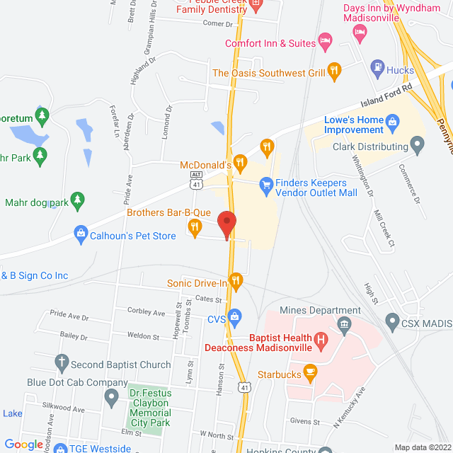 Map to Covenant Community Church in Madisonville, Kentucky