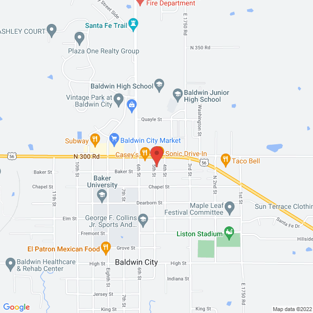 Map to New Life Assembly in Baldwin City, KS