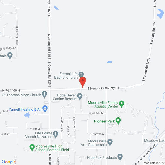 Map to Eternal Life Baptist Church in Mooresville, IN