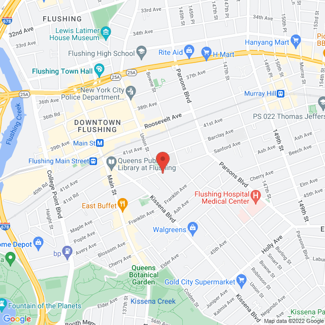 Map to First Baptist Church of Flushing in Flushing, NY
