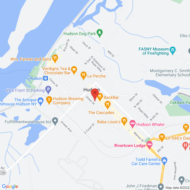 Map to Rock Solid Church in Hudson, NY