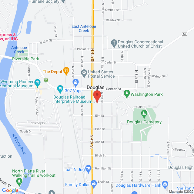 Map to First Baptist Church in Douglas, WY