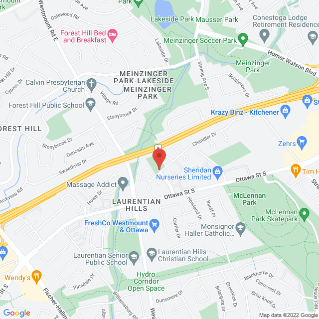 Map to The Gathering Church in 222 Chandler Drive, Kitchener, ON