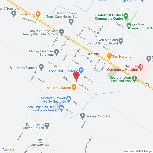 Map to Bethel Bible Church in Seaforth, ON