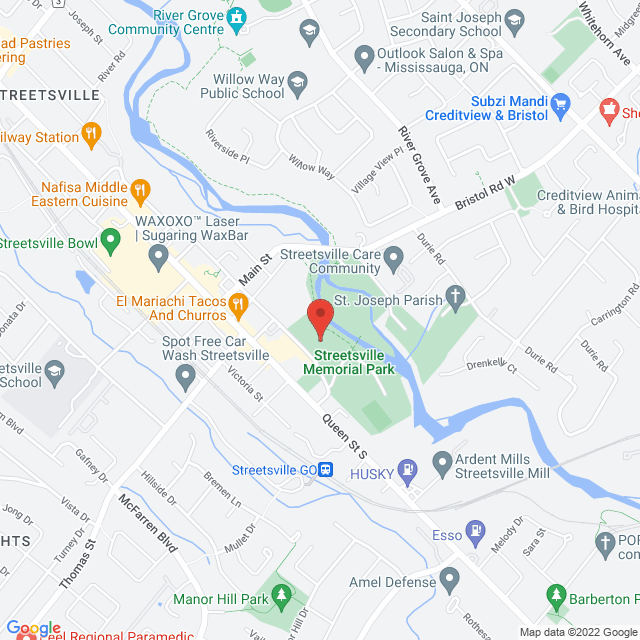 Map to Living Grace Christian Community in Mississauga, ON