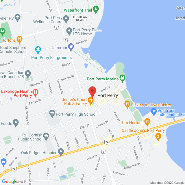 Map to Ascension in Port Perry, ON