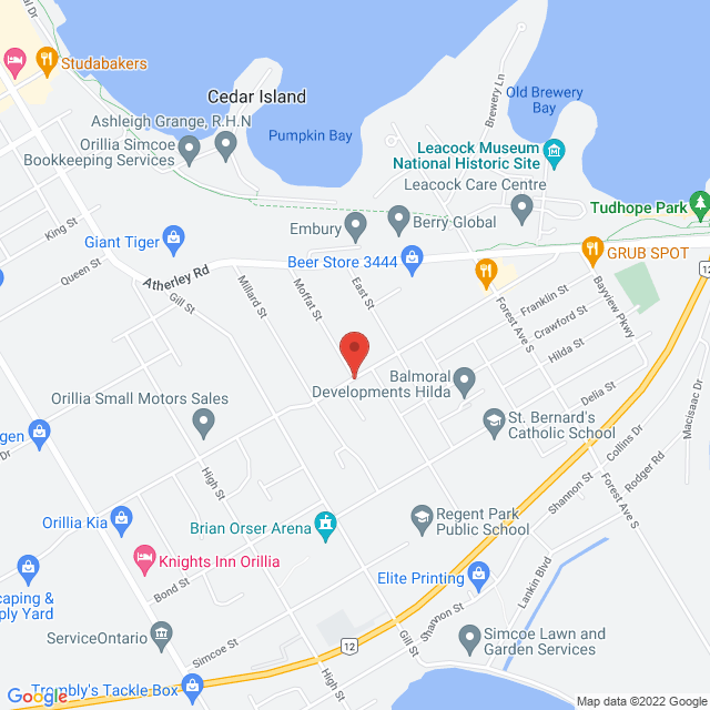 Map to St. David Anglican-Lutheran Church in Orillia, ON