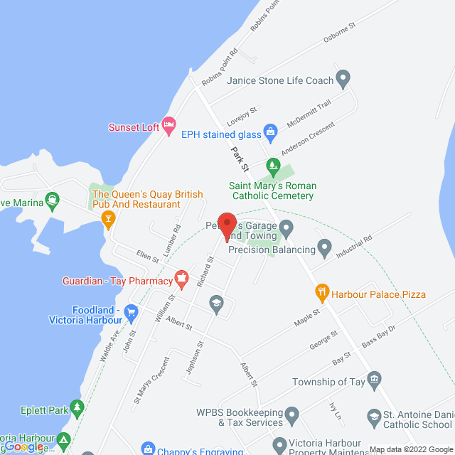 Map to The Shores Community Church in Victoria Harbour, ON
