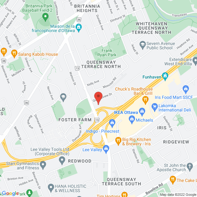 Map to All Saints Lutheran Church  in Ottawa, ON