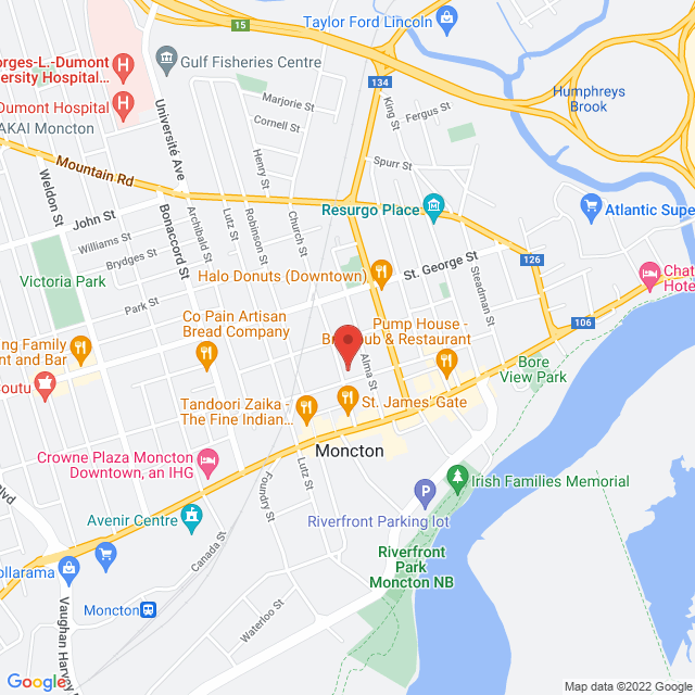 Map to St. George's Anglican Church, Parish of Moncton in Moncton, New Brunswick