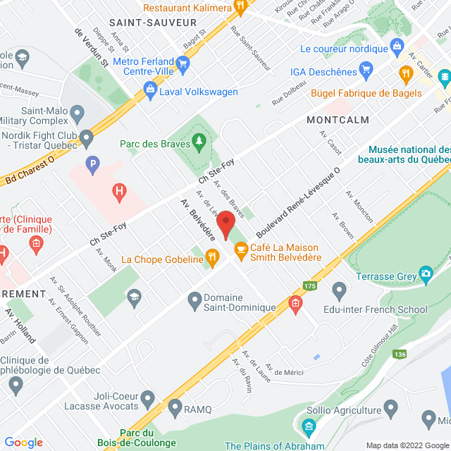 Map to Evangel Pentecostal Church  in Québec, QC
