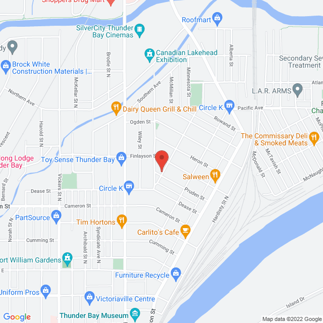 Map to Transformation Church in Thunder Bay, ON