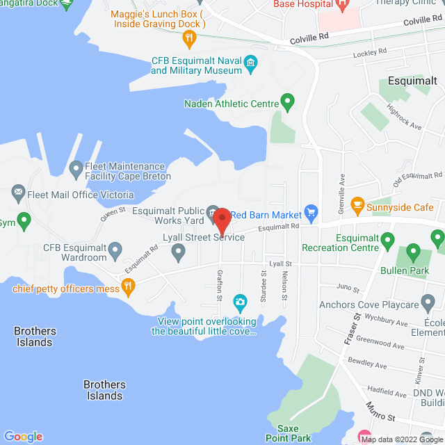 Map to St. Peter and St. Paul's Anglican Church in Esquimalt, BC