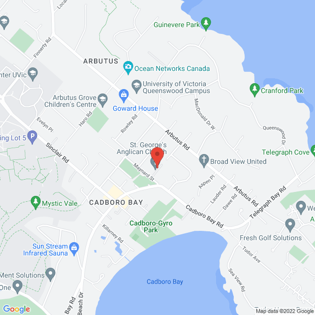 Map to St. George's Anglican Church, Cadboro Bay in Victoria, BC